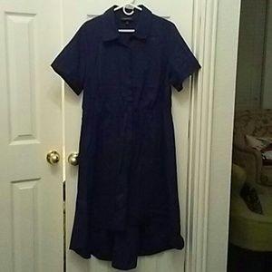 Lane Bryant Navy High Low Shirt Dress